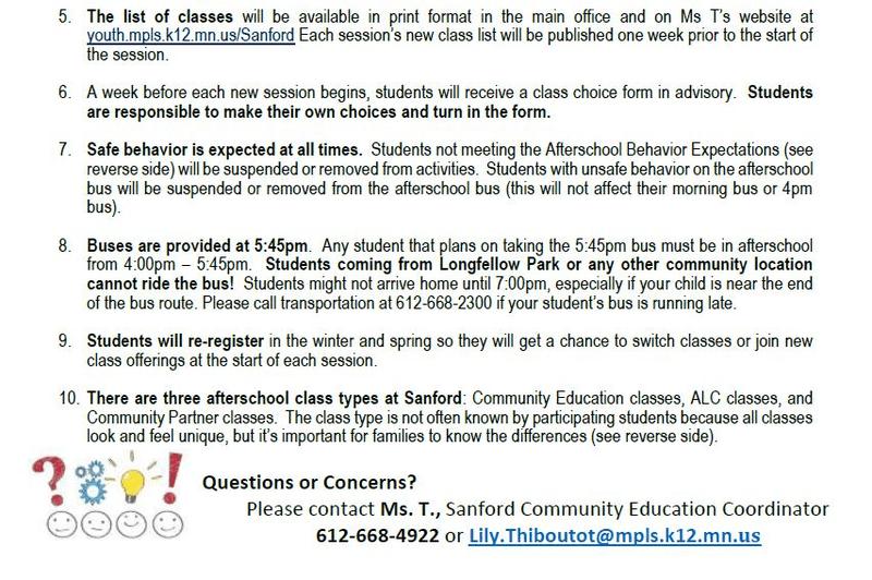 Sanford Afterschool Fall 2019 - Minneapolis Public Schools